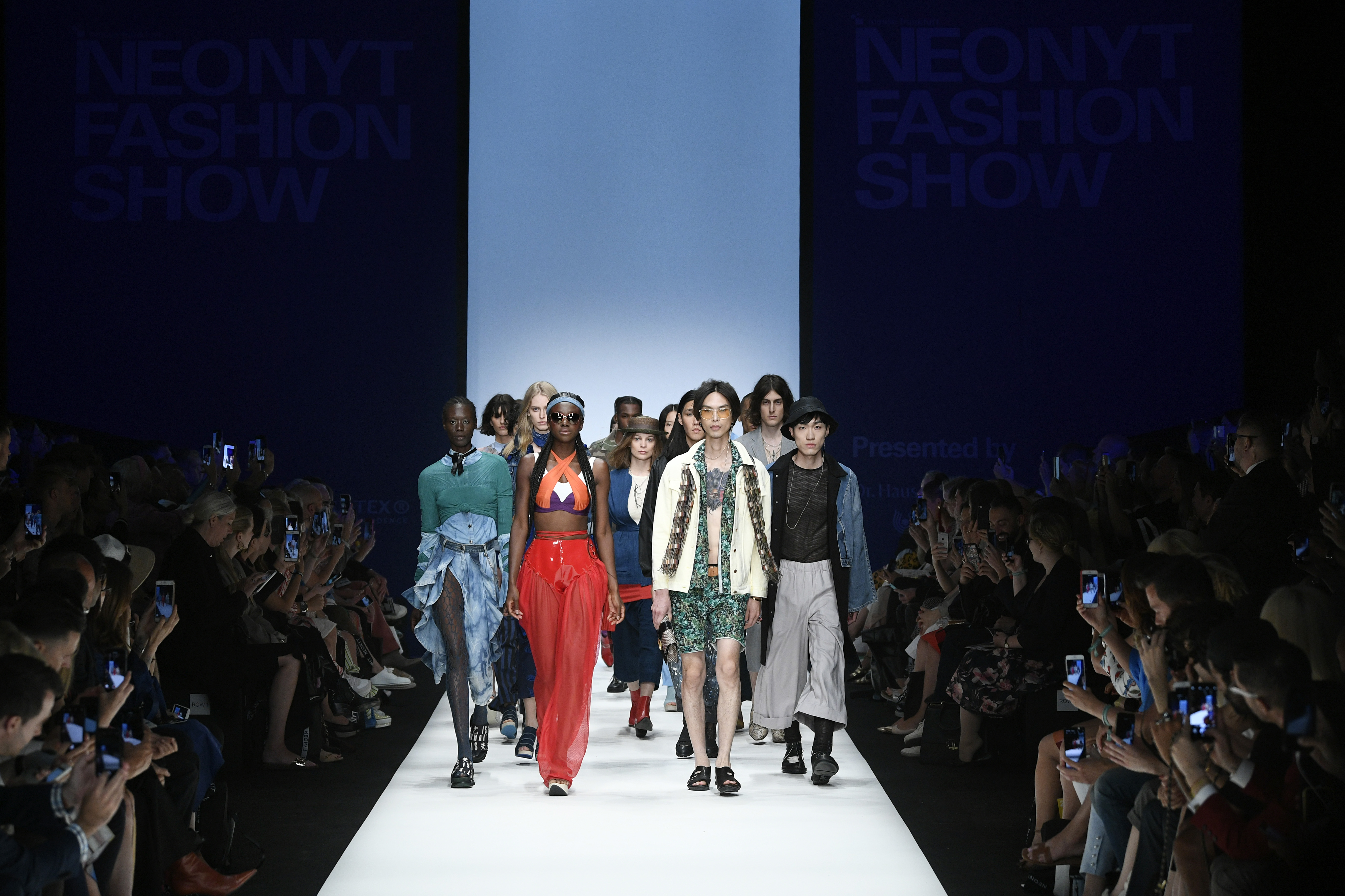 BERLIN, GERMANY - JULY 02: Models walk the runway at the NEONYT show during the Berlin Fashion Week Spring/Summer 2020 at ewerk on July 02, 2019 in Berlin, Germany. (Photo by Stefan Knauer/Getty Images for NEONYT)