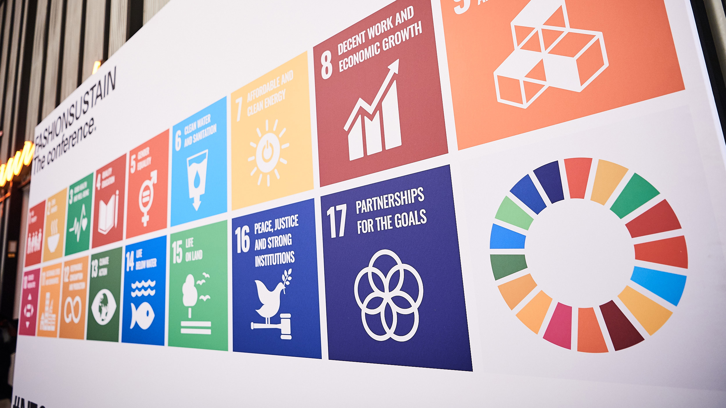 Sustainable Development Goals at a wall at Neonyt